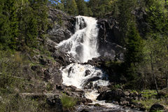 Elgafossen (Elga Waterfall). Elgåfossen Østfold's highest unregulated waterfall with a drop of 46 meters. The farthest south in Østfold, near Holtet in Royalty Free Stock Images