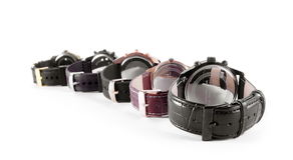 Elgant watch leather straps on white. Elgant watch leather straps on the white Royalty Free Stock Photos