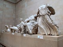 Elgin Marbles, British Museum, London, UK. Elgin Marbles, statues removed from the Parthenon frieze, Athens, Greece, now on display in the British Museum, London stock image