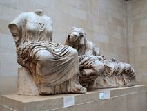 Elgin Marbles, British Museum, London, UK. Elgin Marbles, statues removed from the Parthenon frieze, Athens, Greece, now on display in the British Museum, London Stock Photo