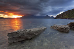 Elgol II. Sunset by the beach in Elgol, Isle of Skye, Scotland, UK Royalty Free Stock Image