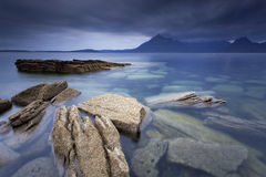 Elgol III. Sunset by the beach in Elgol, Isle of Skye, Scotland, UK Royalty Free Stock Images