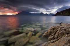 Elgol IV. View on the mountains from Elgol village, Isle of Skye, Scotland, UK Royalty Free Stock Photography