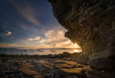 Elgol rocks in sunset Stock Photography