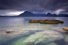 Elgol. Sunset by the beach in Elgol, Isle of Skye, Scotland, UK stock images