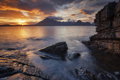 Elgol X. View on the mountains from Elgol village, Isle of Skye, Scotland, UK Royalty Free Stock Photo