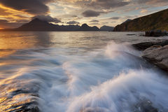 Elgol VII. View on the mountains from Elgol village, Isle of Skye, Scotland, UK royalty free stock images