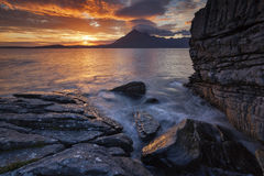 Elgol VIII. View on the mountains from Elgol village, Isle of Skye, Scotland, UK Royalty Free Stock Image