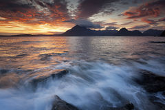 Elgol XI. View on the mountains from Elgol village, Isle of Skye, Scotland, UK Royalty Free Stock Photos