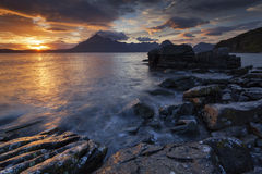 Elgol XII. View on the mountains from Elgol village, Isle of Skye, Scotland, UK Stock Photos