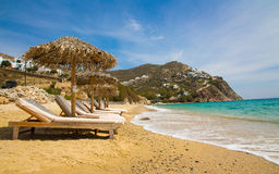 Elia strand i mykonos, Grekland Royaltyfria Bilder