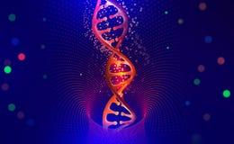 Elica del DNA Ciao tecnologia di tecnologia nel campo di ingegneria genetica illustrazione di stock