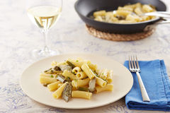 Elicoidale pasta with artichokes and green beans Stock Photography