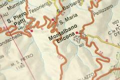 Elicona de Montalbano carte Les îles de la Sicile, Italie photo libre de droits