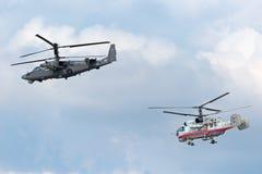 Elicotteri Ka-52 e Ka-32 Immagine Stock