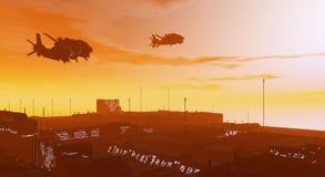 Elicotteri militari sopra la città Fotografie Stock Libere da Diritti