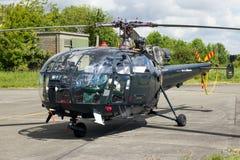 Elicottero belga di salvataggio di Alouette III della marina Fotografia Stock