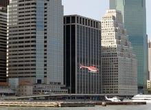 Elicottero che lascia l'eliporto Tom Wurl di Wall Street Immagine Stock