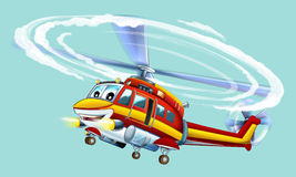 Elicottero del fumetto Fotografie Stock Libere da Diritti