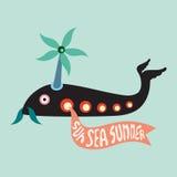 Elicottero del pesce con l'insegna di estate del mare del sole Fotografia Stock