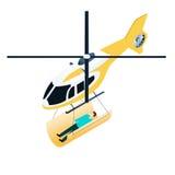 Elicottero isometrico di emergenza Immagini Stock
