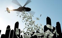 Elicottero in soldi cadenti del cielo sopra la città Immagini Stock