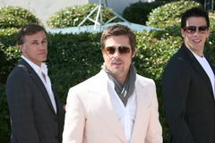 Elie Roth, Christoph Waltz  and Brad Pitt. CANNES, FRANCE - MAY 20: Elie Roth and Brad Pitt attends the Inglourious Basterds Photocall held at the Palais Des Stock Photo