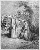 Eliezer and Rebekah. Picture from The Holy Scriptures, Old and New Testaments books collection published in 1885, Stuttgart-Germany. Drawings by Gustave Dore royalty free illustration
