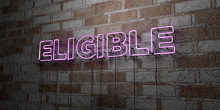 ELIGIBLE - Glowing Neon Sign on stonework wall - 3D rendered royalty free stock illustration. Can be used for online banner ads and direct mailers Stock Photo