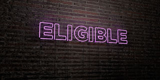 ELIGIBLE -Realistic Neon Sign on Brick Wall background - 3D rendered royalty free stock image. Can be used for online banner ads and direct mailers Royalty Free Stock Images