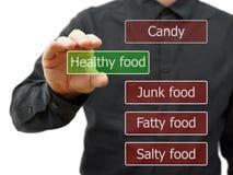 Elija la comida healty Foto de archivo libre de regalías