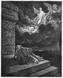 Elijah ascends to Heaven in a chariot of fire Stock Images