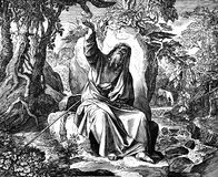 Elijah Fed by Ravens. 1) Sacred-biblical history of the old and New Testament. two Hundred and forty images Ed. 3. St. Petersburg, 2) 1873. 3) Russia 4) Julius Stock Photo