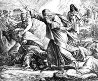 Elijah Kills Prophets of Baal. 1) Sacred-biblical history of the old and New Testament. two Hundred and forty images Ed. 3. St. Petersburg, 2) 1873. 3) Russia 4 Stock Photos