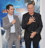 Elijah Wood, Robin Williams,. Elijah Wood & Robin Williams at the world premiere of their new movie Happy Feet Two at Grauman's Chinese Theatre, Hollywood Stock Photography