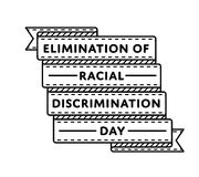 Eliminação do emblema do dia da discriminação racial ilustração stock