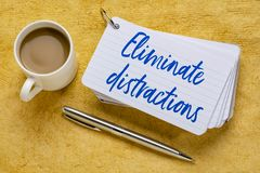 Eliminate distractions reminder. Eliminate distractions - handwriting on a stack of index cards with a cup of coffee and  a pen against yellow textured paper stock photography