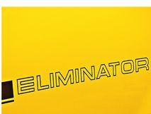 Eliminator decal with a yellow background. Eliminator decal, outline, black stock images