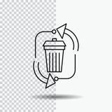 , eliminazione, immondizia, gestione, ricicla la linea icona su fondo trasparente Illustrazione nera di vettore dell'icona illustrazione vettoriale