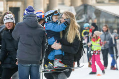 Elin Kostelic with son Ivan. ZAGREB, CROATIA - JANUARY 15, 2017 : FIS World Snow Day for kids with free skiing and snowboarding lessons on the ski slope in Royalty Free Stock Photos