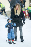 Elin Kostelic with son. ZAGREB, CROATIA - JANUARY 15, 2017 : FIS World Snow Day for kids with free skiing and snowboarding lessons on the ski slope in Bakaceva Royalty Free Stock Photos