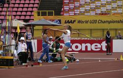 ELINA KINNUNEN from Finland on the javelin throw event in the IAAF World U20 Championship in Tampere, stock image