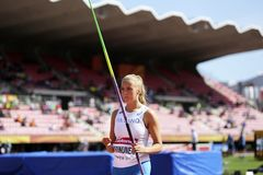 ELINA KINNUNEN from Finland on the javelin throw event in the IAAF World U20 Championship in Tampere, stock photo