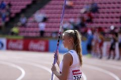 ELINA KINNUNEN from Finland on the javelin throw event in the IAAF World U20 Championship in Tampere, Finland 10th July, 2018. TAMPERE, FINLAND, July 10: ELINA stock images