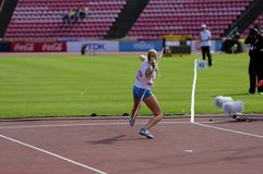 ELINA KINNUNEN from Finland on the javelin throw event in the IAAF World U20 Championship in Tampere, Finland 10th July, 2018. TAMPERE, FINLAND, July 10: ELINA stock photography