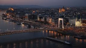 Elisabeth Brücke in Budapest stock footage