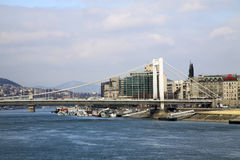 Elisabeth Bridge  across the River Danube in Budapest, Hungary. February 2012 Royalty Free Stock Photography