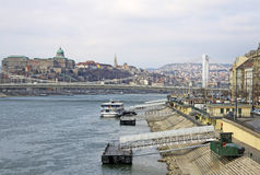 Elisabeth Bridge  across the River Danube in Budapest, Hungary Stock Images