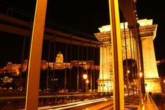 Elisabeth Bridge alla notte a Budapest Fotografia Stock Libera da Diritti