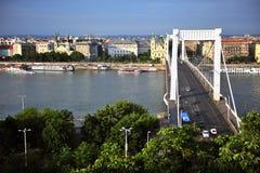 Elisabeth bridge and Budapest city centre, Hungary Royalty Free Stock Photos
